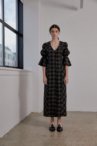 Kahlo Dress-Olive Plaid