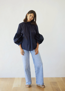 Mahsa Navy Long Preacher Top in Navy