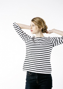 Galathee 11 Nautical striped top Neige & Noir