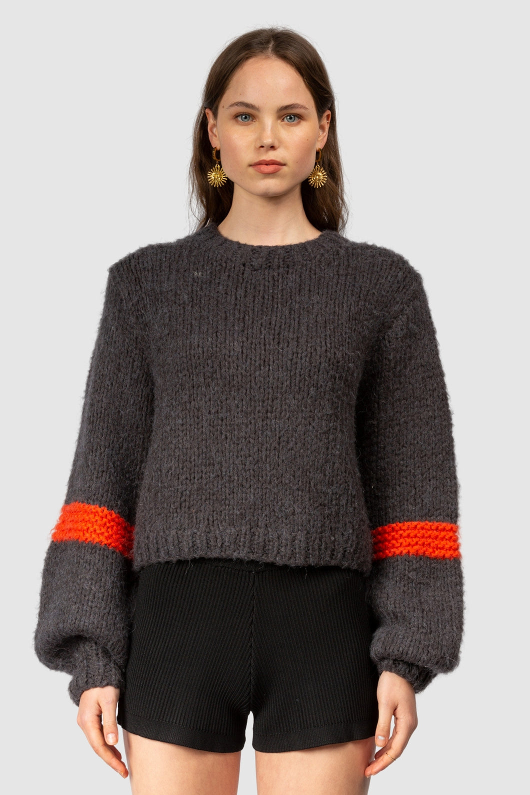 La Boca Bell Sleeve Knit-Charcoal/Flama