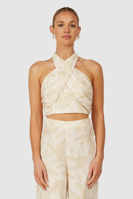 Valencia Twist Neck Top-Ivory Palm