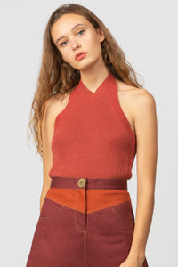 El Sol Halter Knit in Rust