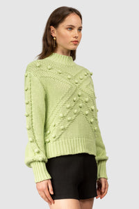 Besito Pom Pom Knit-Pale Lime