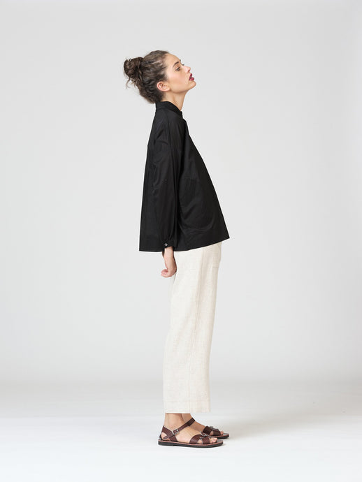 Clarence Shirt-Black Voile