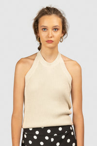 El Sol Halter Knit in Bone