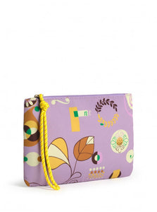 Printed Nylon Wristlet-Light Mauve