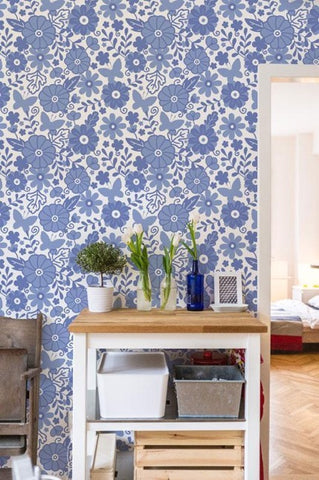 Dutch Flowers Pattern Wallpaper Mural, eazywallz.eu