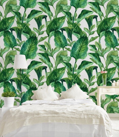 EXOTIC LEAVES IN WATERCOLOUR WALLPAPER MURAL, eazywallz.eu