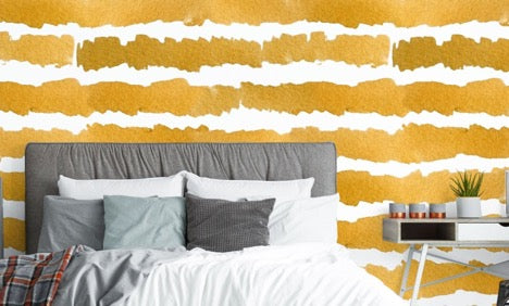 Gold Water Colour Wallpaper Mural, eazywallz.eu