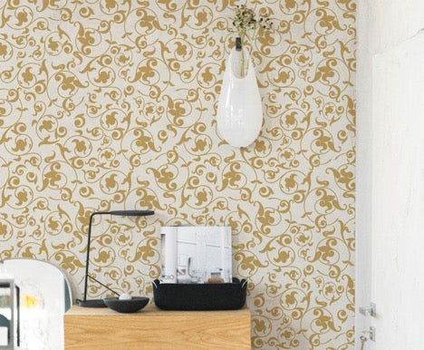 Golden Baroque Wallpaper Mural, eazywallz.eu