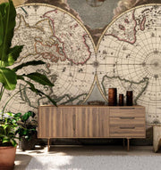 1672 Vintage Planiglobe map of the world Wall Mural-Maps-Eazywallz