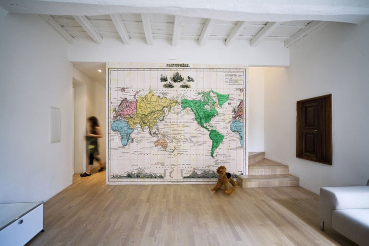 1875 Map of the World Wall Mural-Maps-Eazywallz