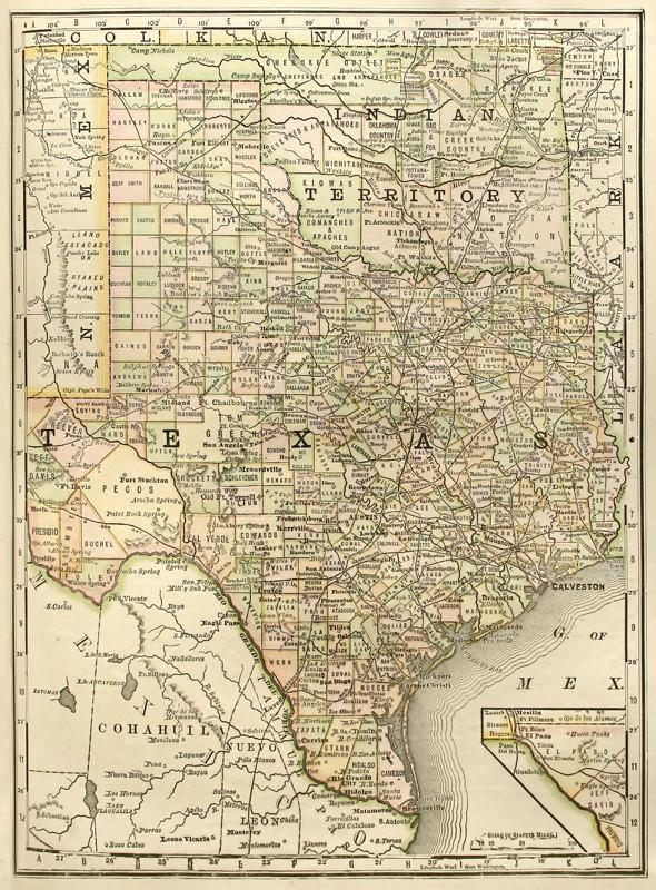 1889 Map of Texas Wall Mural-Maps-Eazywallz