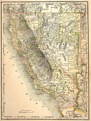 1889 Maps of California and Nevada Wall Mural-Maps-Eazywallz