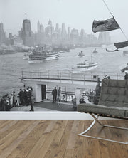 1936 New York Harbour Wall Mural-Vintage-Eazywallz