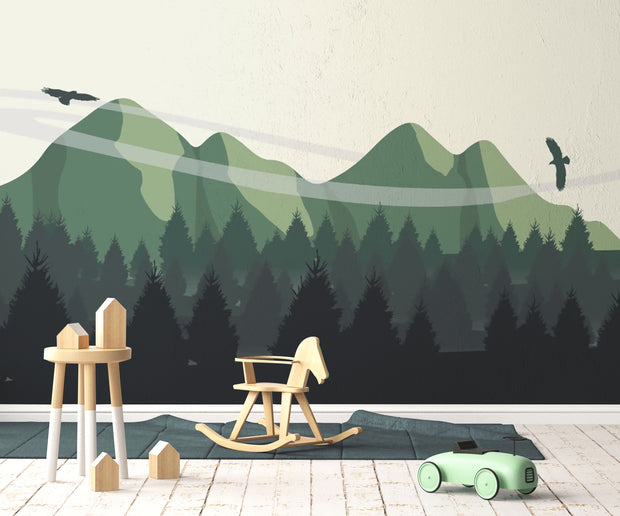 Illustrated Landscape Wallpaper Mural