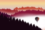 Abstract Air Balloon at Sunset Wall Mural-Landscapes & Nature-Eazywallz