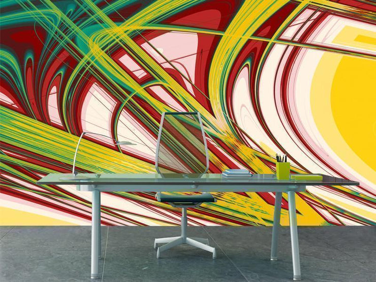 Abstract Curves Mural-Abstract-Eazywallz