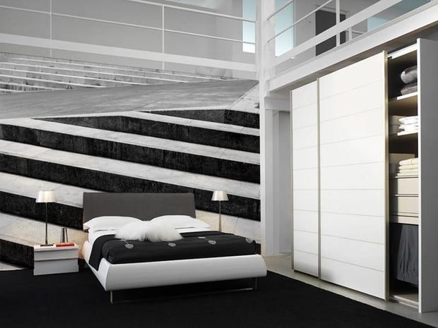 Abstract Stairs in Black and White Mural-Abstract,Black & White,Panoramic-Eazywallz