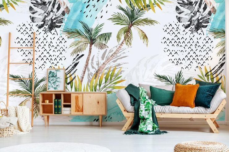 Abstract Water Color Palm Trees Mural-Textures-Eazywallz