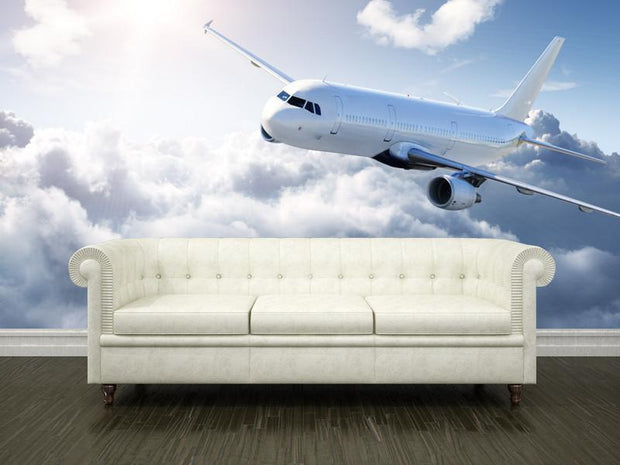 Airplane in the sky Wall Mural-Transportation-Eazywallz