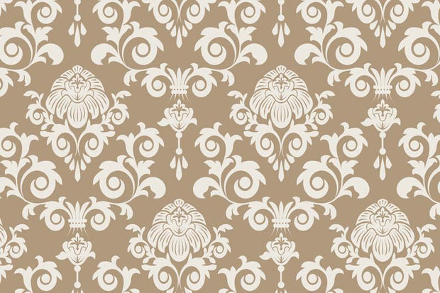 Beige damask Wall Mural-Patterns-Eazywallz