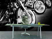 Bikes in a row Wall Mural-Black & White,Transportation-Eazywallz