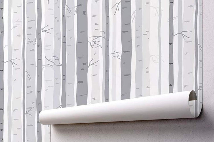 Illustrated Birch Forest Wallpaper