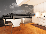 Black and White Bridge Line Wall Mural-Black & White,Buildings & Landmarks,Urban,Featured Category-Eazywallz