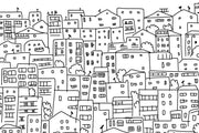 Black and White City Sketch Wallpaper Mural