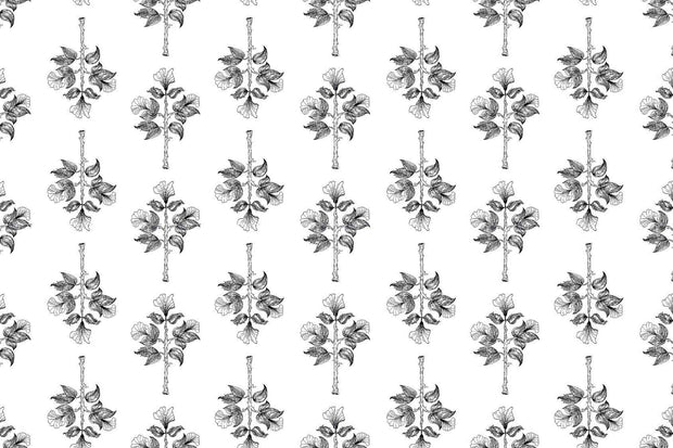 """black floral"" Wallpaper Mural"