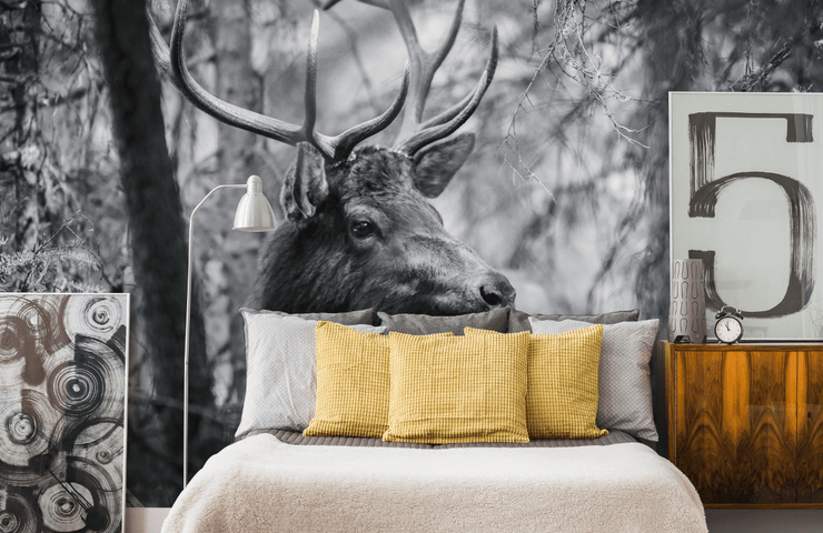 Black & White Deer in Forest Wall Mural-Animals & Wildlife-Eazywallz