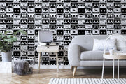 Black & White Tapes Pattern Wall Mural