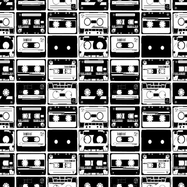 Black & White Tapes Pattern Wall Mural-Patterns-Eazywallz