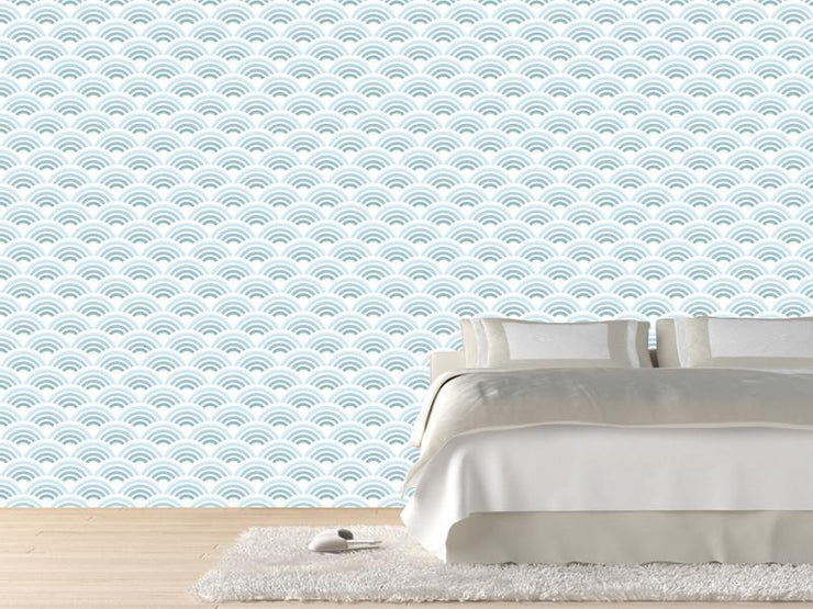 Blue waves pattern Wall Mural-Patterns-Eazywallz