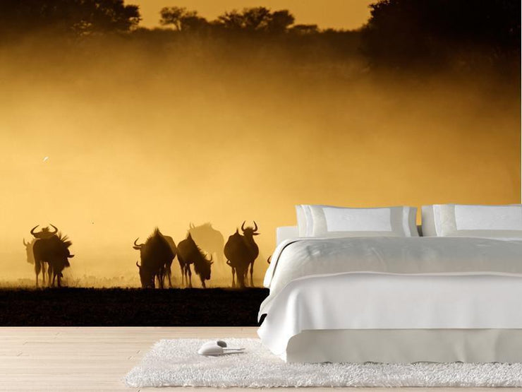 Blue wildebeest in dust at sunrise Wall Mural-Animals & Wildlife,Landscapes & Nature-Eazywallz