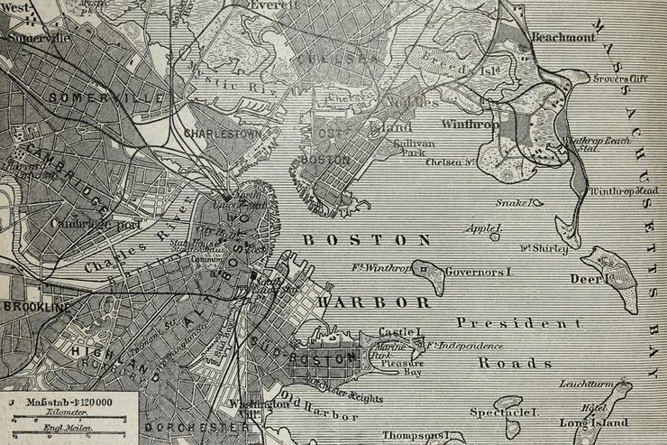 Boston Harbor Map Wall Mural-Maps-Eazywallz