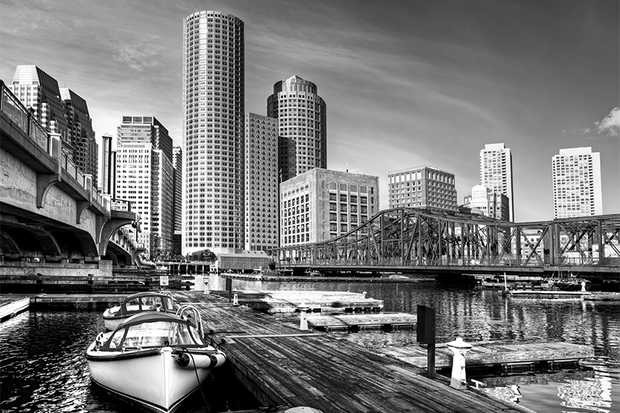 Boston USA Cityscape Wall Mural-Black & White,Buildings & Landmarks,Cityscapes,Featured Category-Eazywallz