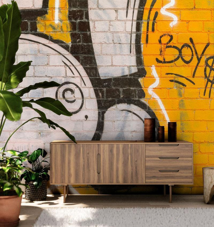 Boys Graffiti Brick Wall Mural-Abstract,Zen,Textures,Words,Best Rated Murals,Featured Category of the Month-Eazywallz