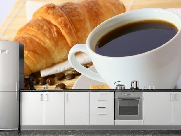 Breakfast with coffee and croissant Wall Mural-Food & Drink-Eazywallz