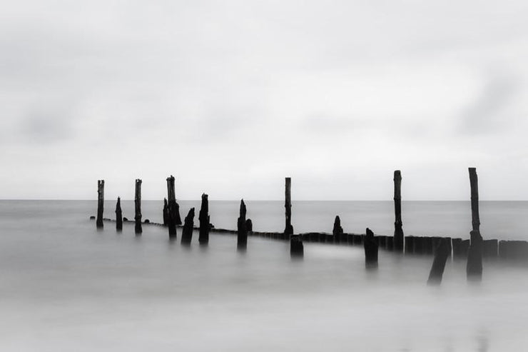 Breakwater in Quiet Sea Wall Mural-Abstract,Black & White,Landscapes & Nature-Eazywallz