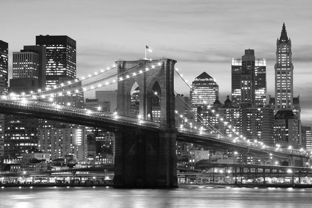 Brooklyn Bridge at night in black and white Wall Mural-Black & White,Buildings & Landmarks,Cityscapes,Featured Category-Eazywallz