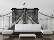 Brooklyn Bridge Cables Wall Mural-Black & White,Buildings & Landmarks,Urban,Featured Category-Eazywallz
