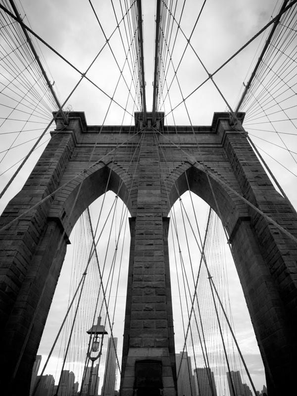 Brooklyn Bridge in black and white Wall Mural-Black & White,Buildings & Landmarks,Urban,Featured Category-Eazywallz