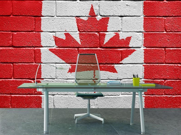 Canadian flag painted on a brick wall Wall Mural-Urban-Eazywallz