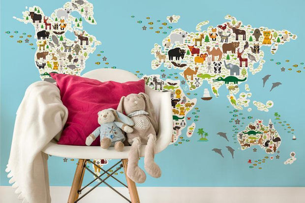 Cartoon Animal Map Wall Mural-Kids' Stuff-Eazywallz