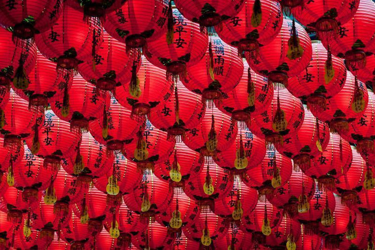 Chinese Paper Lanterns Mural-Abstract,Buildings & Landmarks,Zen-Eazywallz