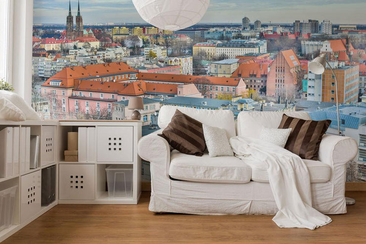 City in Poland Wall Mural-Black & White,Buildings & Landmarks,Cityscapes,Urban-Eazywallz