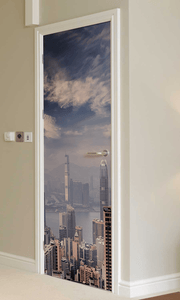 City View Door Mural-Cityscapes-Eazywallz