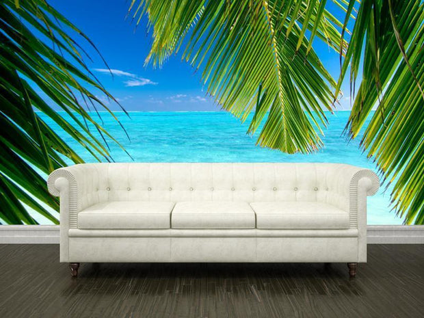 Coconut palm tree leaves Wall Mural-Tropical & Beach-Eazywallz